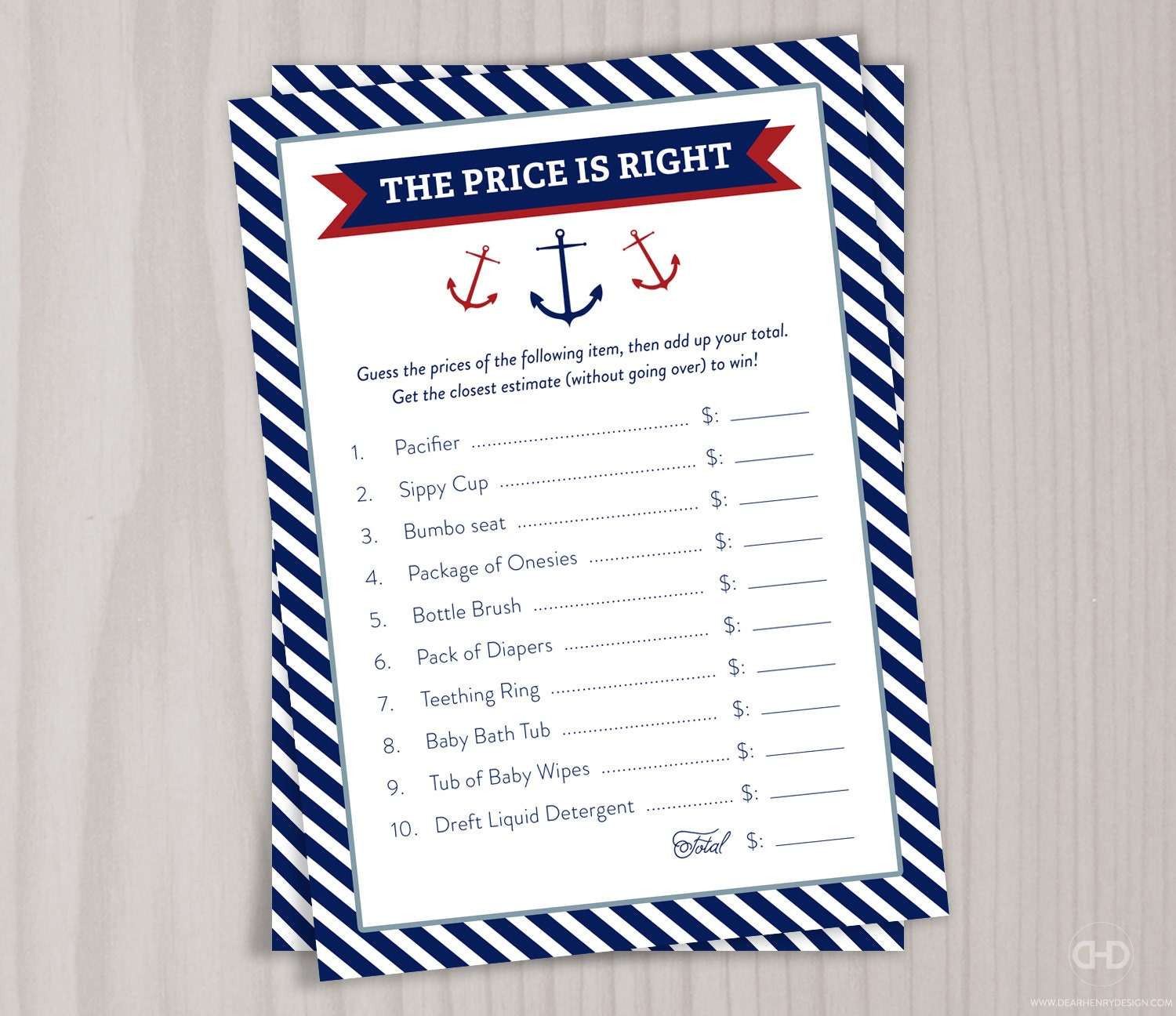 Price is Right Baby Shower Game Red Little Boy Nautical Baby