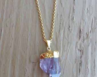 RAW AMETHYST CRYSTAL Necklace, Rock Jewelry, Crystal Necklace (Gold)