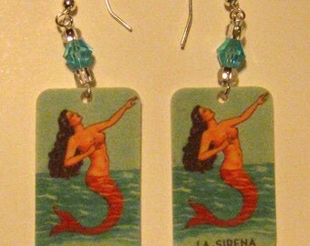 Loteria La Sirena Mermaid Earrings with Light Blue Crystal Beads