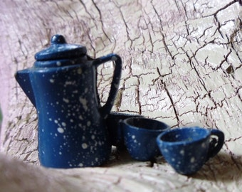 Tiny Antique Tea Set -:-  Coffee Set - Pitcher & 3 Cups - Miniature