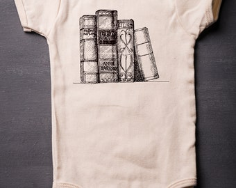 Baby Bodysuit - Organic Baby One Piece - Screen Printed Baby Clothes - Books - Librarian - Infant One Piece