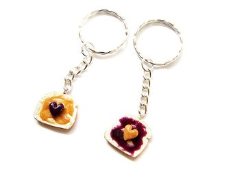 Peanut Butter and Grape Jelly Key Chains, Polymer Clay Peanut Butter and Jelly Sandwiches, BFF Hearts Toast Charms