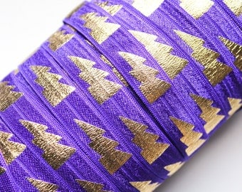 "5/8"" Fold Over Elastic Regal Purple with Gold Lightning Bolts, Metallic, Shiny FOE, Printed"