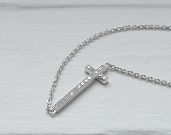 Sideways Cross Necklace - Thin Silver Cross - Micro Pave Cross - Minimalist Cross - Christian Confirmation Jewelry - Long Cross Pendant