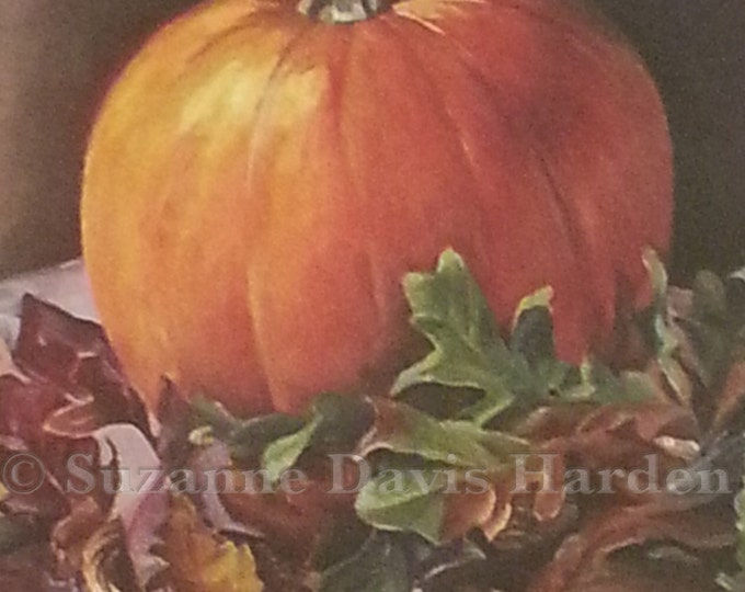 Featured listing image: Original Art Print- Triple Matted Pumpkin Still Life Original Print by Suzanne Davis Harden