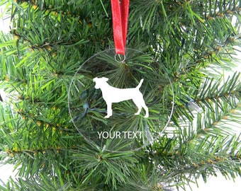 Personalized Custom Jack Russell Terrier Clear Acrylic Christmas Tree Ornament