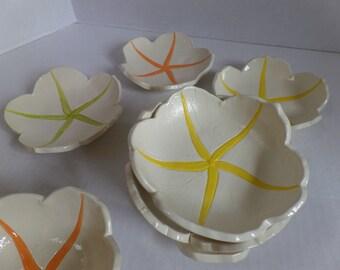 Handmade Starfish Pottery Bowls Tapas Plates Set of 8