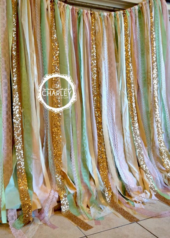 Pink Mint Gold Sparkle Sequin Fabric Backdrop With Lace