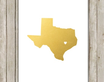 8x10 Texas State Printable, State Wall Art, Metallic Gold Printable Art, Texas Poster, Office, Home Decor, Instant Digital Download