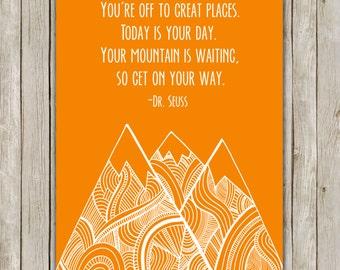 8x10 Dr. Seuss Art Print, Tangerine Nursery Print, You're Off To Great Places, Geo Mountain Art, Nursery Decor, Instant Digital Download
