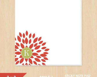 Personalized Sticky Note // Red Blooming Blossom with Monogram Initial // S100-7