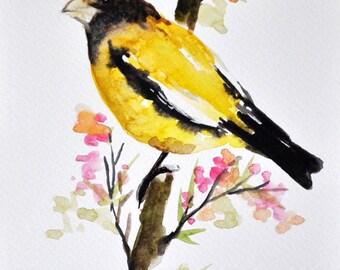 ORIGINAL Watercolor Bird Painting, Yellow Bird With Flowers 6x8 Inch