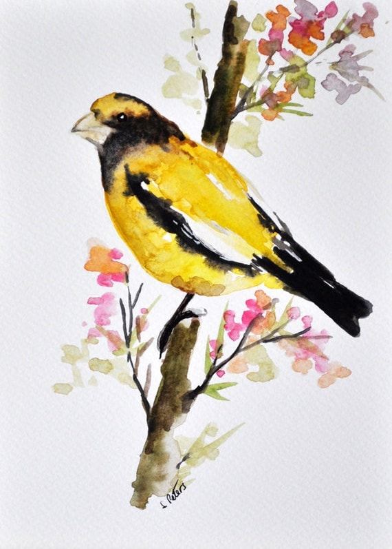 ORIGINAL Watercolor Bird Painting Yellow Bird With Flowers
