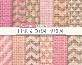 """Burlap digital paper: """"PINK & CORAL BURLAP"""" pink burlap / linen textured chevron backgrounds, stripes, seafoam, turquoise, canvas patterns"""