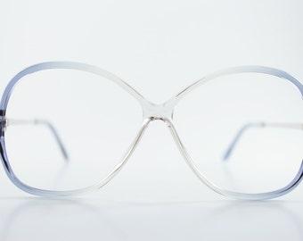 Vintage Clear Eyeglass Frame | 1980s Translucent Blue Oversize Rounded Glasses - July Blue