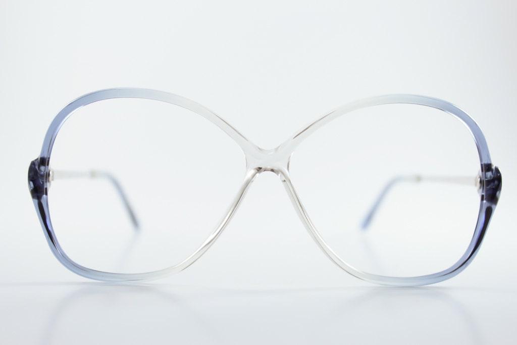 80s Vintage Glasses Round Clear Blue Eyeglass Frame NOS