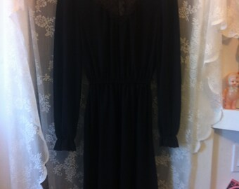 Gothic Black Lace Long Sleeve Dress 60's