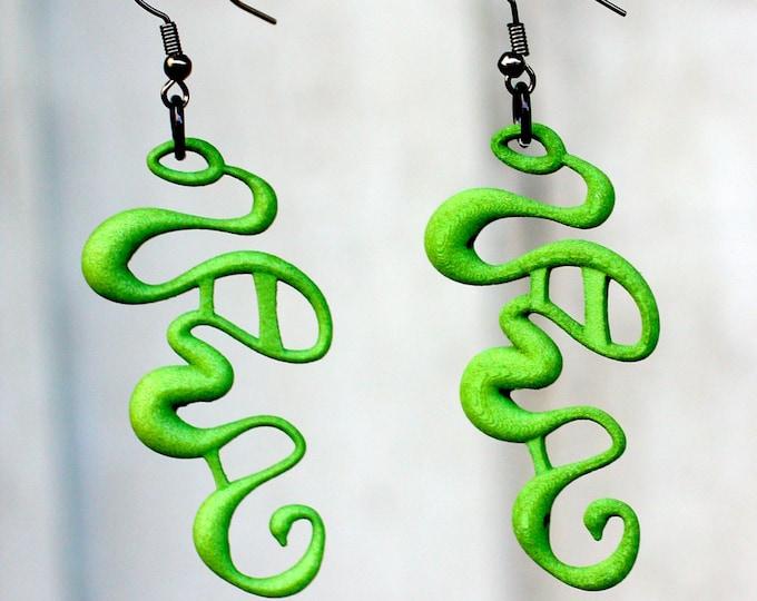 """Green """"Rivulet"""" Earrings"""
