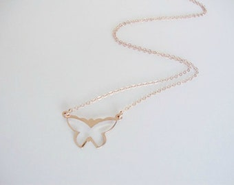 Rose Gold-Filled Butterfly Necklace - Handmade Jewelry - Everyday Necklace - Bridesmaid Necklace - Minimalist Jewelry - Spring Necklace