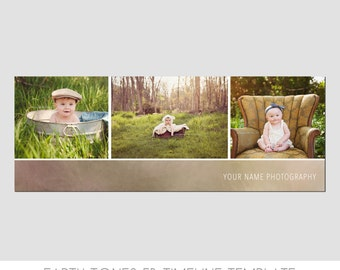 INSTANT DOWNLOAD - Simple Facebook Timeline Cover Templates - Earth Tone - Elegant - Children - Engagements - Family - Photo Template - Easy