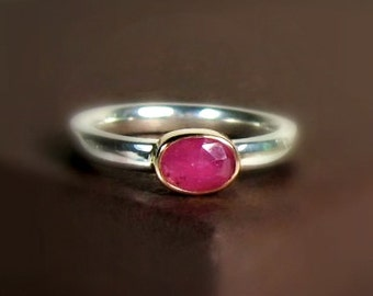 Pink Sapphire 14K Gold  with Wide Sterling silver Band, Rose Cut Oval Gemstone  Ring, Ready to Ship, Size 6.5