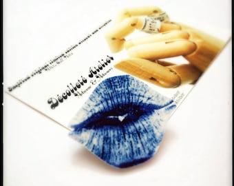 Blue Raspberry Slushie SWAK Lips Lapel Pin - Wearable Kiss Colour Illustration Brooch