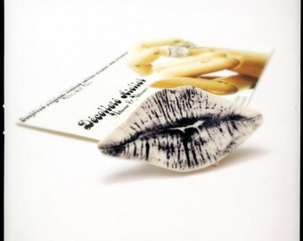 Black and White and SWAK All Over Lapel Pin - Wearable Kiss Black and White Illustration Brooch