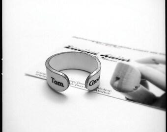 Ground Control To Major Tom Ring - Upcycled Shrink Film Ring - Handmade Custom Unisex Ring