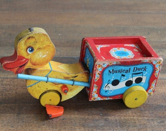 Vintage Children's Pull Toy - Musical Duck (Fisher Price - 795)