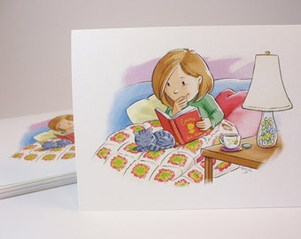 Reading Jane Austen 6 note cards with envelopes / blank inside / happy cute girl / cat on lap / original art by Kathe Keough