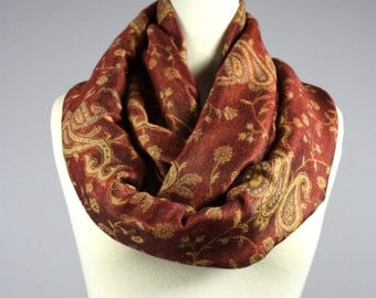 Rust  scarf,  infinity scarf, pashmina scarf, autumn colors
