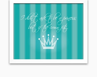 Princess nursery art wall art for nursery or little girls for Signs for little girl rooms