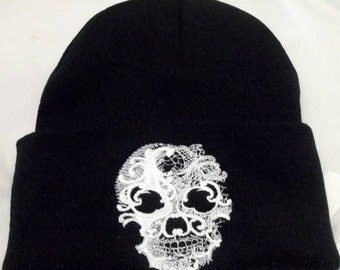 Beanie Hat Ghost Skull, Baroque Style ,embroidery,Gothic ,Pagan, Wiccan,Pagan Clothing,Wiccan Clothing,,