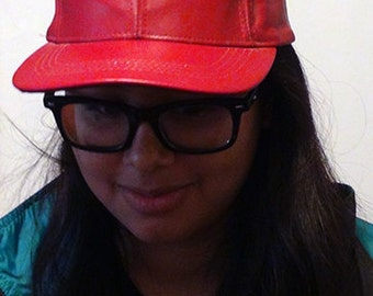 Vintage Red Pleather Baseball Hat Adjustable