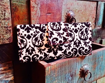 Handmade Damask and Hot Pink Chevron Wallet