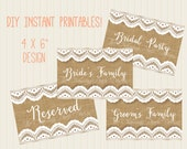 """Reserved Table Wedding Signs: Rustic Burlap and Lace DIY Printable 4x6""""  / Bride's Family / Groom's Family /  Bridal Party / Reserved"""