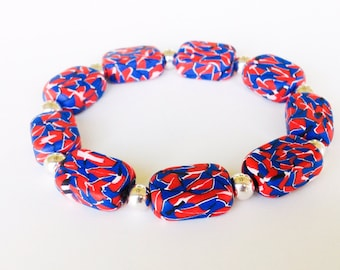 Red, White, and Blue Polymer Clay Beads Bracelet, Mosaic Beads, Stretch, Millefiori, Flat Bead Jewelry