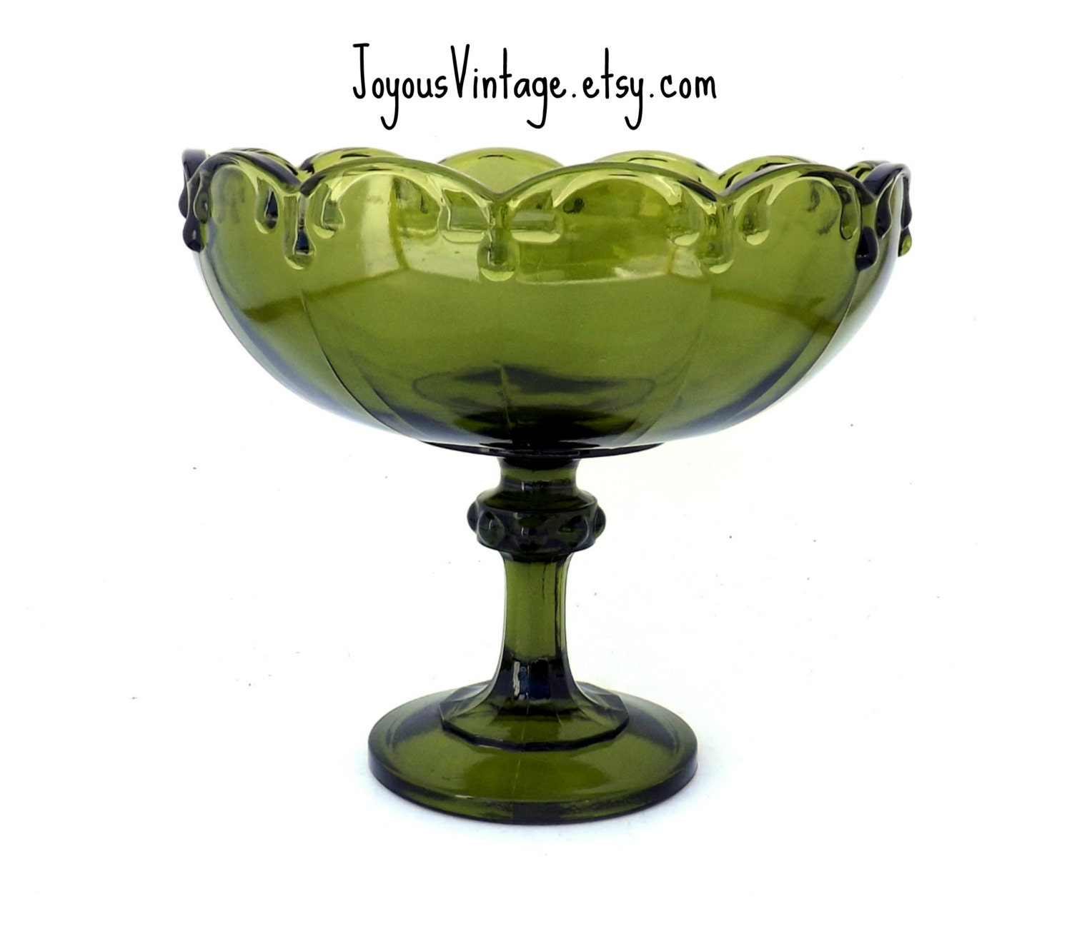 Vintage green indiana glass teardrop pedestal compote bowl wedding gift table centerpiece - Kitchen table centerpiece bowls ...
