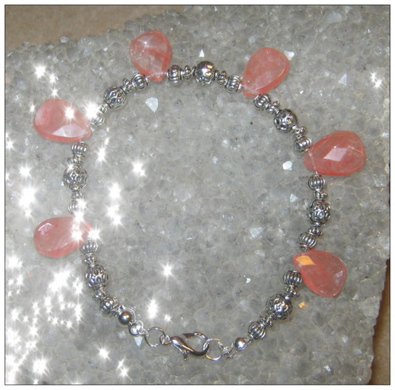 Handmade Silver Bracelet with Facetted Cherry Quartz Drops by IreneDesign2011
