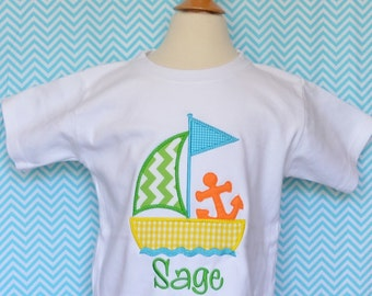 Personalized Sailboat with Anchor Applique Shirt or Onesie Boy or Girl