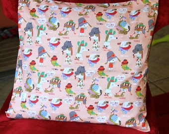 """Decorative pillow 18""""x 18"""" with dog and friends design for you or your pet."""