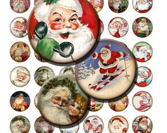 Vintage Santa Claus Christmas St Nick Digital Images Collage Sheet 1 inch Circles INSTANT Download BC45