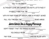 Words of Wisdom MAD LIBS Printables - Unique Guest Book Alternative- Wedlibs