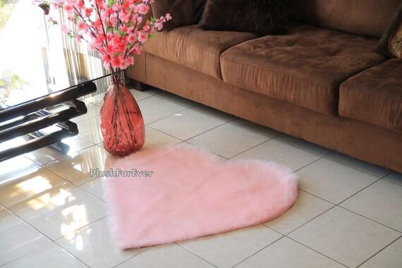 Light Pink Heart Shape Faux Fur Rug Valentines Gift Living