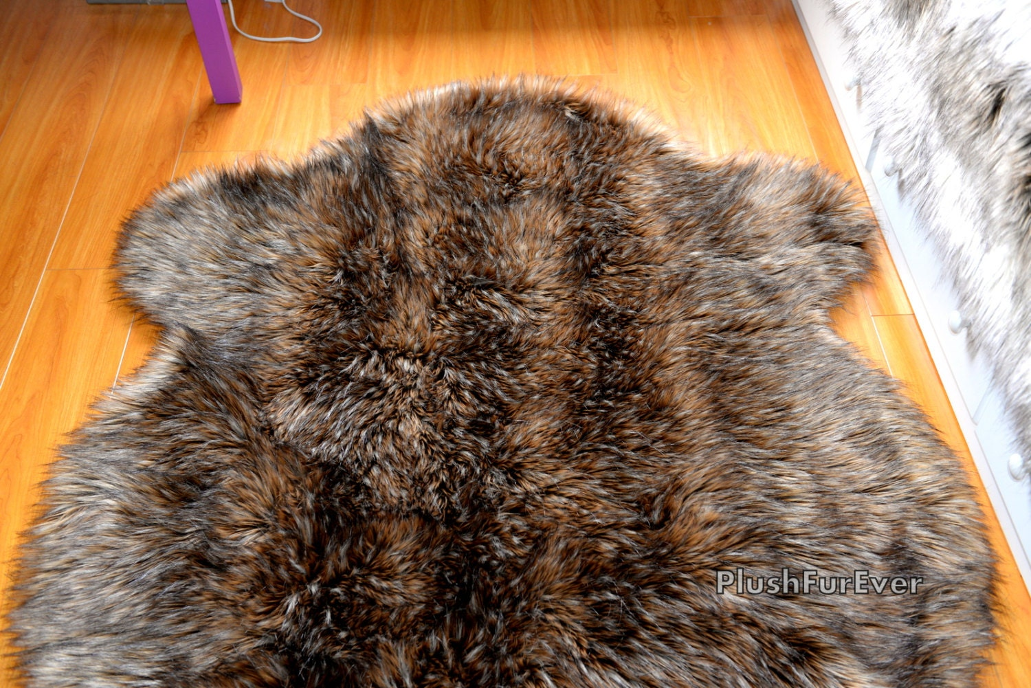 brown mountain coyote faux fur rug area throw rugs home
