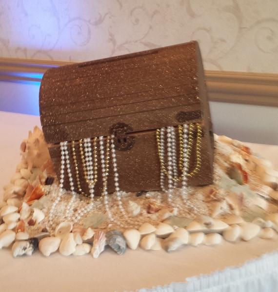 Treasure Chest Wedding Gift Card Box : Wedding Money Envelope Card Box Glitter Treasure Chest with Beads ...