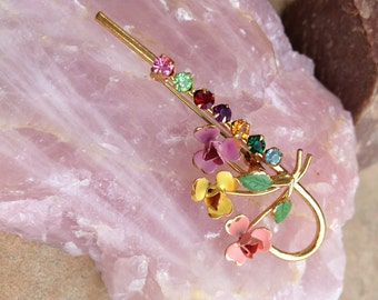 Austrian Handmade Antique Brooch Featuring Crystals and Painted Flowers