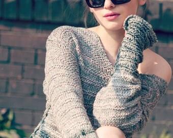 hand knit womens sweaters - boho tunic sweater - boho clothing - shoulder off sweater - crochet