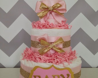 Modern Pink and Gold Diaper Cake, Baby Girl Diaper Cakes