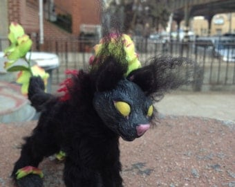 Weedling - Little Black Cat Poseable Artist's Doll - Black, Green and Maroon